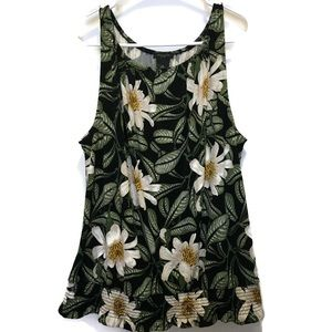 Ann Taylor Factory Black Floral Sleeveless Top